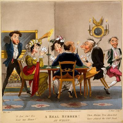 A Real Rubber! at Whist, Print Made by George Hunt, 1827-M. Egerton-Giclee Print