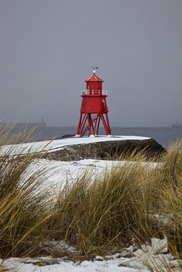 A Red Lighthouse Along the Coast; South Shields, Tyne and Wear, England-Design Pics Inc-Photographic Print