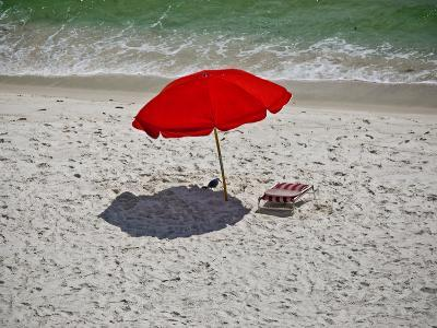 A Red Umbrella on the Beach at Gulf Shores, Alabama-National Geographic Photographer-Photographic Print