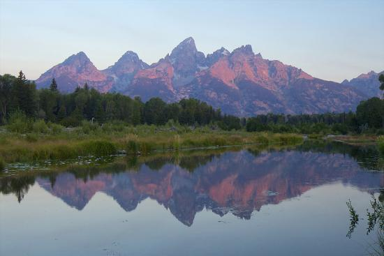 A Reflection of the Grand Teton Range in the Snake River-Barrett Hedges-Photographic Print