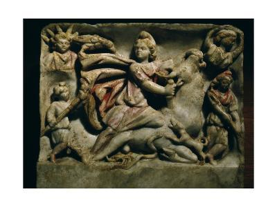 A Relief of Mithras Slaying the Bull, the First of Living Creatures from Whose Blood, Corn and…--Giclee Print