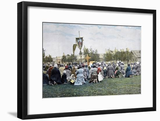 A Religious Procession in a Village, Russia, C1890- Gillot-Framed Giclee Print