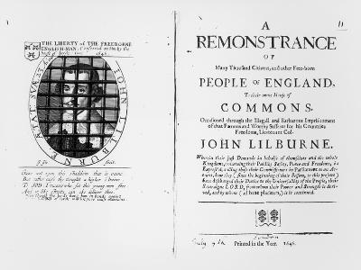 A Remonstrance by the Levellers to the House of Commons Regarding the Imprisonment of Their Leader--Giclee Print