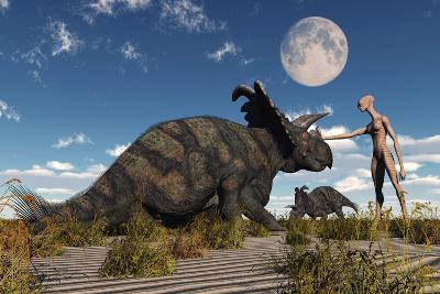 A Reptoid Using Telepathy to Communicate with a Albertaceratops Dinosaur-Stocktrek Images-Art Print