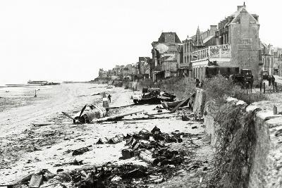 A Republic P-47 Has Crashed on the Beach, Which Is Littered with Scrap, Normandy, France, June 1944--Photographic Print