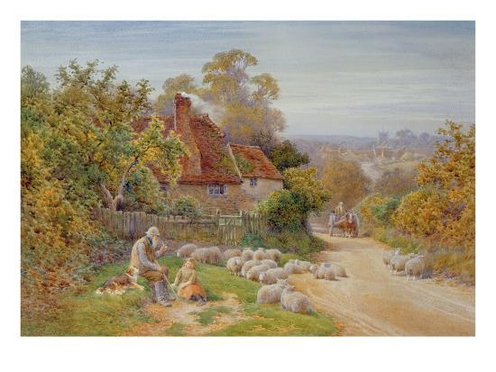 A Rest by the Way-Charles James Adams-Giclee Print