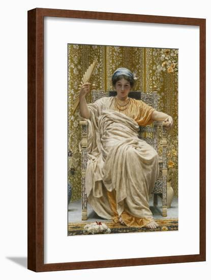 A Revery- a Look of Sadness on a Restful Face - She Hath No Cares - a Thing Hereditary in the…-Albert Joseph Moore-Framed Giclee Print