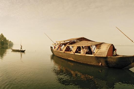 A Rice Boat Converted to a Houseboat Floats on Backwaters of Kerala-Macduff Everton-Photographic Print