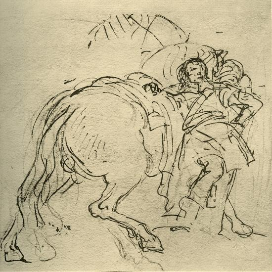 'A rider leaning on his horse', c1740s, (1928)-Giovanni Battista Tiepolo-Giclee Print