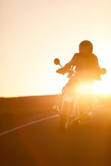A Rider on 1960S Bmw R60Us Motorcycle on a Coastal Road at Sunset-Jak Wonderly-Photographic Print