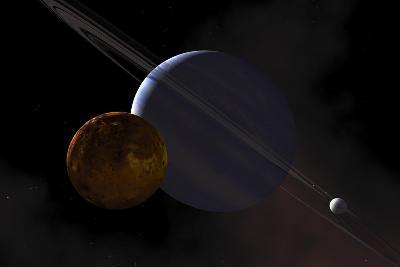 A Ringed Gas Giant Exoplanet with Moons-Stocktrek Images-Art Print