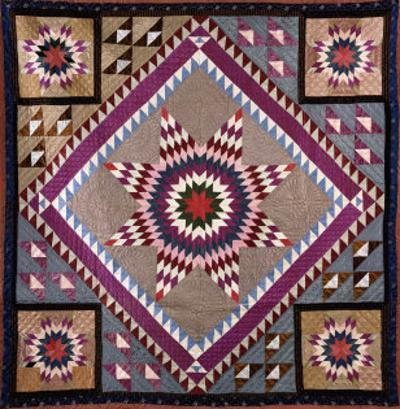 A Rising Star Design Coverlet, Probably Philadelphia, Pieced and Quilted Silk, 1880, 1890