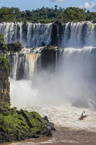 A River Boat at the Base of the Falls, Iguazu Falls National Park, Misiones, Argentina-Michael Nolan-Photographic Print