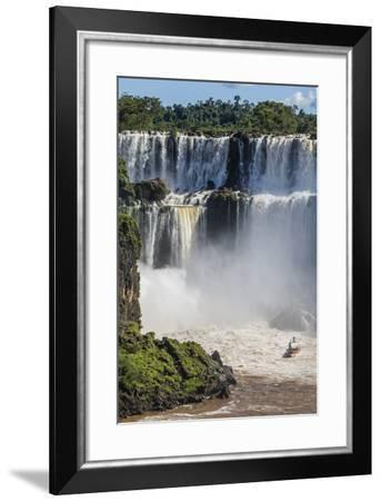 A River Boat at the Base of the Falls, Iguazu Falls National Park, Misiones, Argentina-Michael Nolan-Framed Photographic Print