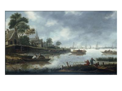 A River Estuary with Fishermen and Other Figures in Boats, the Town of Haarlem Beyond, 1675-Thomas Heeremans-Giclee Print
