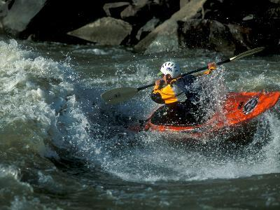 A River Kayak Spins Off a Wave-Robbie George-Photographic Print