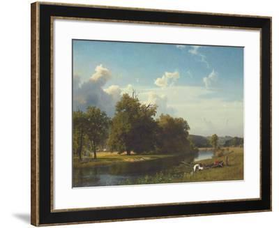 A River Landscape, Westphalia, 1855-Albert Bierstadt-Framed Giclee Print