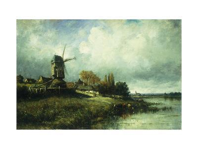 A River Landscape with a Windmill-Victor		 Dupre-Giclee Print