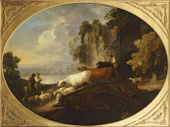 A River Landscape with Rustic Lovers, a Mounted Herdsman Driving Cattle and Sheep over a Bridge-Thomas Gainsborough-Giclee Print