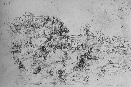 'A River with a Canal Alongside and a Castle on a Hill', c1480 (1945)-Leonardo da Vinci-Giclee Print