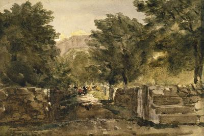 A Road in North Wales with Figures, C.1840-David Cox-Giclee Print