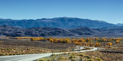 A Road Through and Autumn Landscape Headed Towards the Sierra Nevada Mountains-Babak Tafreshi-Photographic Print