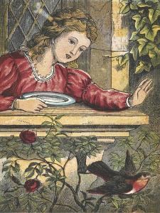 A Robin Flying Away From a Girl at a Window