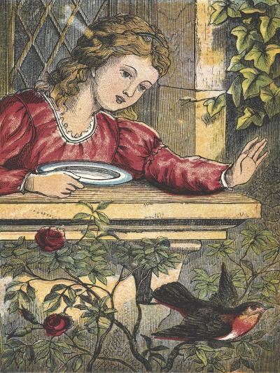 A Robin Flying Away From a Girl at a Window--Giclee Print