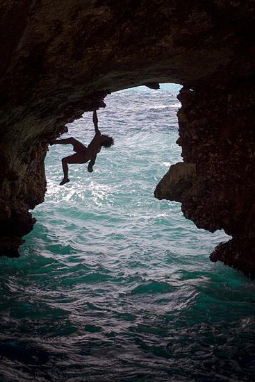 A Rock Climber Climbing Without Ropes Above the Mediterranean Sea-Cory Richards-Photographic Print
