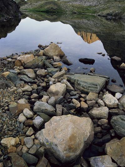 A Rocky Shore and Reflections on Water in the San Juan Mountains-Bill Hatcher-Photographic Print