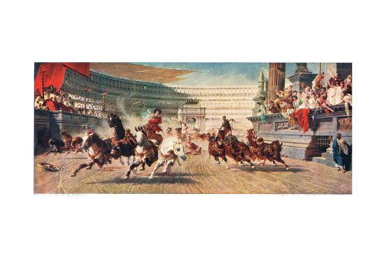 A Roman Chariot Race, Illustration from 'Hutchinson's History of the Nations'--Premium Giclee Print