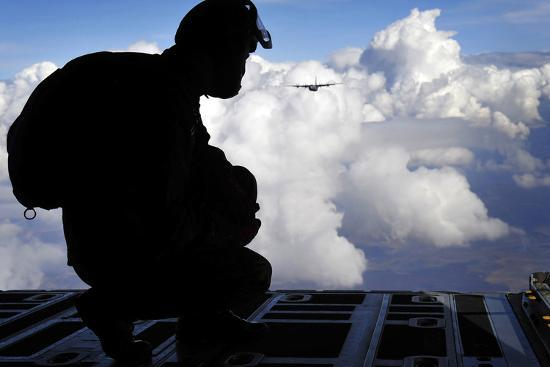 A Romanian Paratrooper Awaits His Signal to Jump Out of a C-130J Super Hercules-Stocktrek Images-Photographic Print