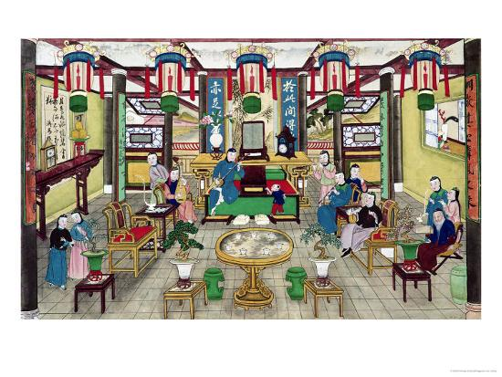 A Room in the House of Mr. Kong, a Peking Merchant-Chinese School-Giclee Print