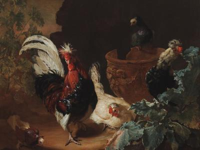 A Rooster, Two Chickens and Two Pigeons by an Antique Chipped Terra Cotta Vase in a Landscape, 1695-Abraham Bisschop-Giclee Print