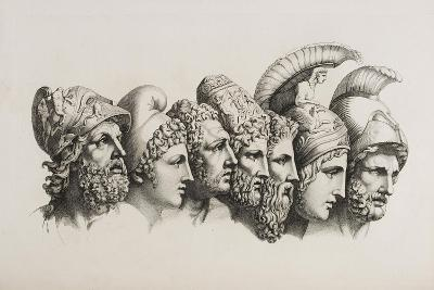 A Row Of Seven Heads Of Classical Heroes and Heroines From the Stories Of Homer.-HW Tischbein-Giclee Print