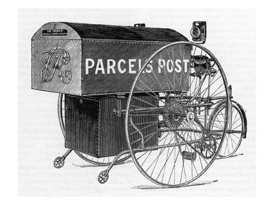 A Royal Mail Parcels Post Delivery Tricycle Giclee Print by