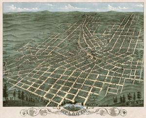 Bird's Eye View of the City of Atlanta, Georgia, 1871 by A. Ruger
