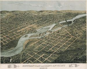 Minneapolis and Saint Anthony, Minnesota, 1867 by A. Ruger