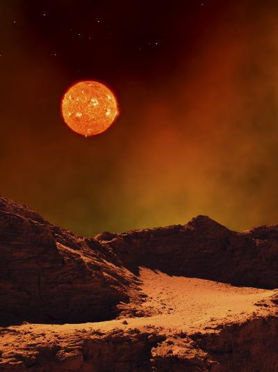 A Rugged Planet Landscape Dimly Lit by a Distant Red Star--Photographic Print
