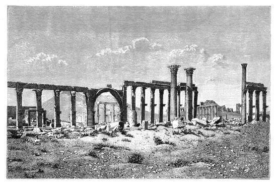 A Ruined Colonnade at Palmyra (Tadmu), Syria, 1895--Giclee Print