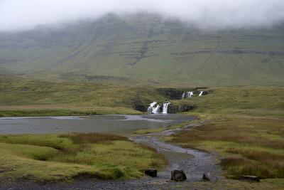 A Rural Landscape in Iceland with Fields and Mountains as Well as a Small Waterfall-Natalie Tepper-Photo