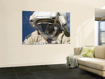 A Russian Cosmonaut Wearing a Russian Orlan Spacesuit During a Spacewalk-Stocktrek Images-Wall Mural