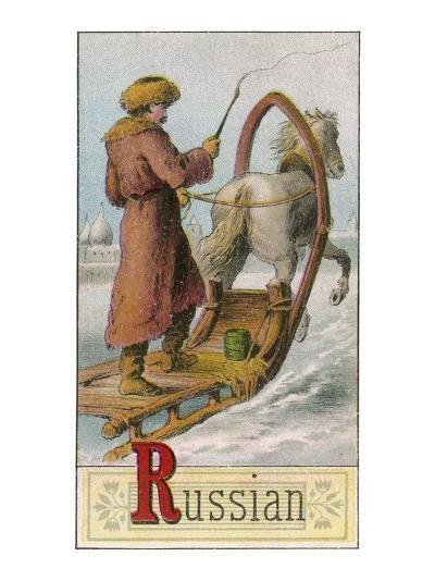 A Russian Man Driving a Horse-Drawn Sleigh--Giclee Print