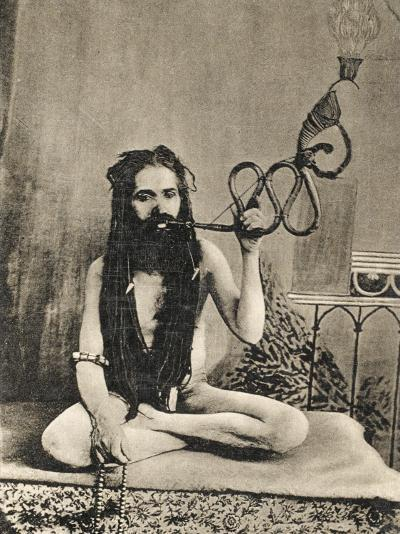 A Sadhu Smoking a Remarkable Pipe, India--Photographic Print
