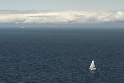 A Sailboat in Waters Off Anacapa Island in Channel Islands National Park-Phil Schermeister-Photographic Print