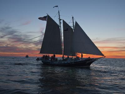 A Sailboat Off Grand Haven Pier on Lake Michigan at Twilight-Karen Kasmauski-Photographic Print