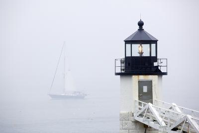 A Sailboat Passing Marshall Point Lighthouse in Port Clyde, Maine-John Burcham-Photographic Print