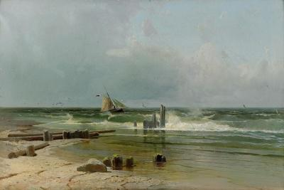 A Sailing Boat by the Beach, 1891-Arseni Ivanovich Meshchersky-Giclee Print