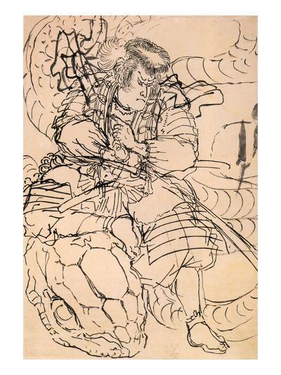 A Samurai Overwhelming a Giant Serpent-Kuniyoshi Utagawa-Giclee Print