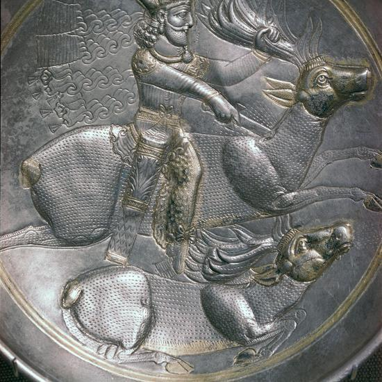 A Sassanid silver dish showing King Shapur II, 4th century. Artist: Unknown-Unknown-Giclee Print